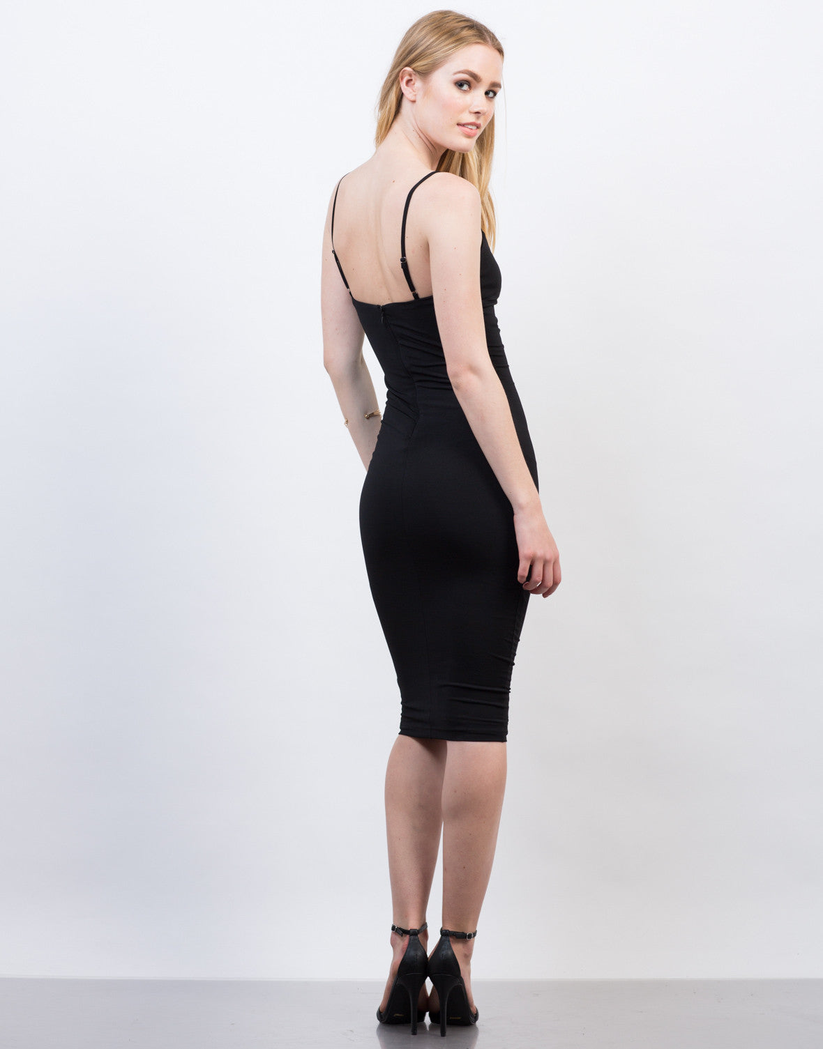 Back View of Classic Black Midi Dress