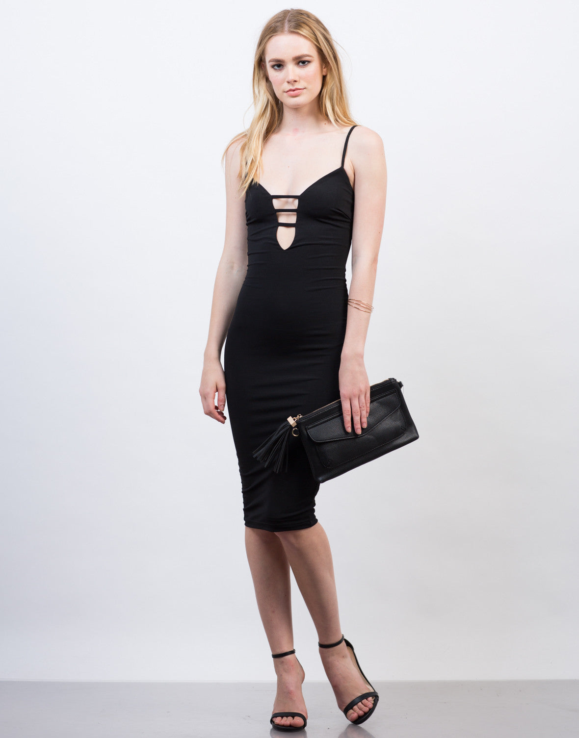 Front View of Classic Black Midi Dress