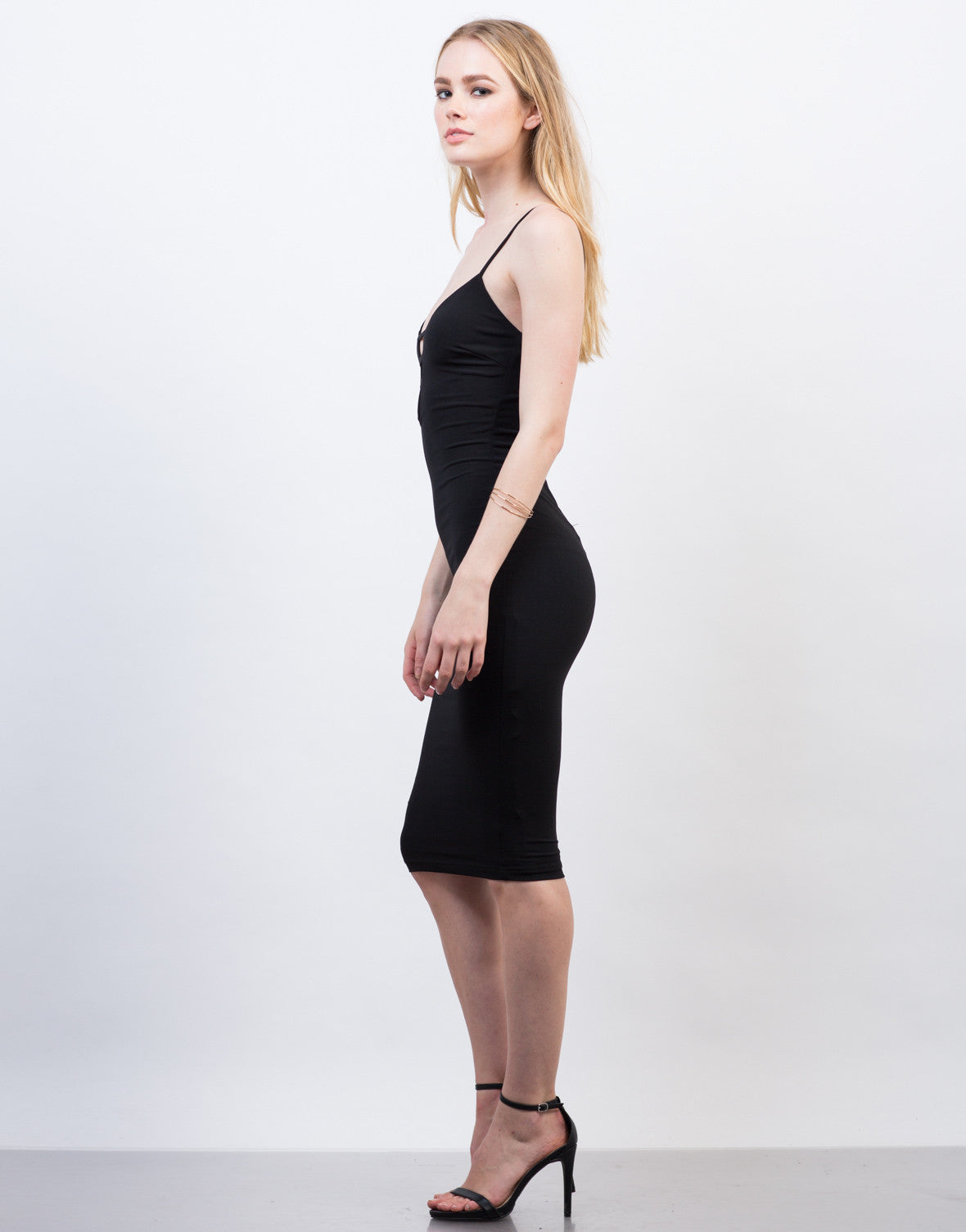 Side View of Classic Black Midi Dress