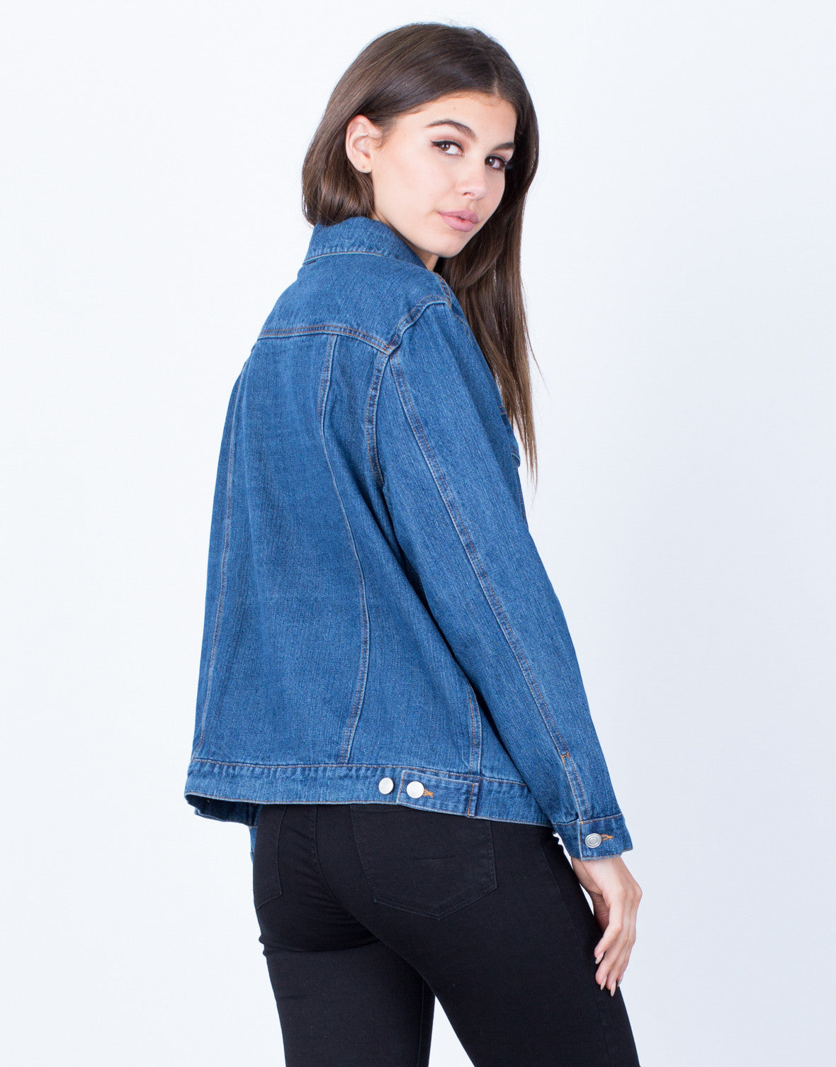 Back View of Classic Blue Denim Jacket