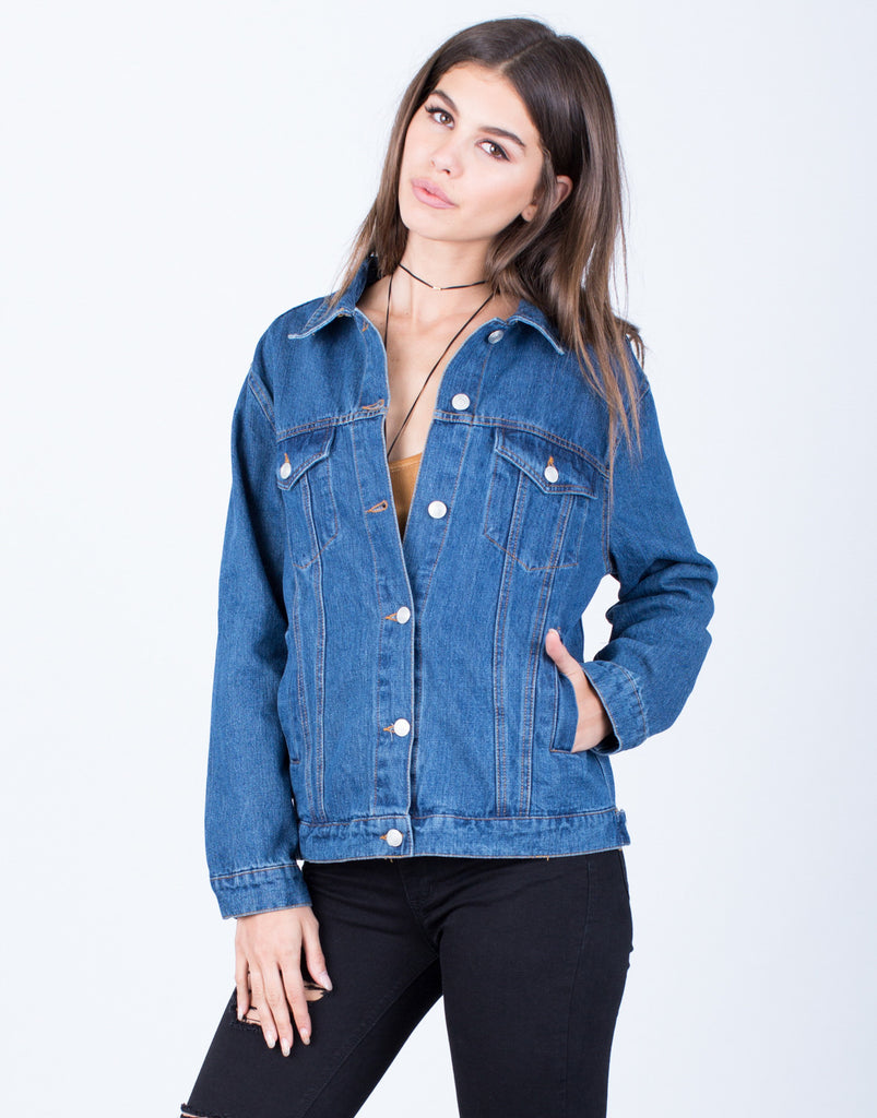 Front View of Classic Blue Denim Jacket