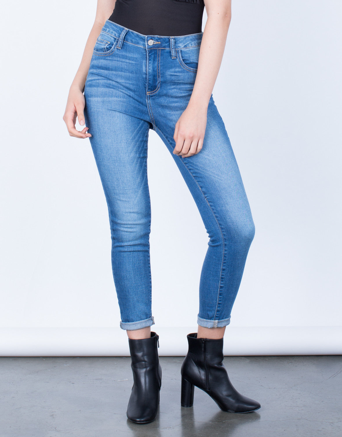 Front View of Classic Blue Jeans