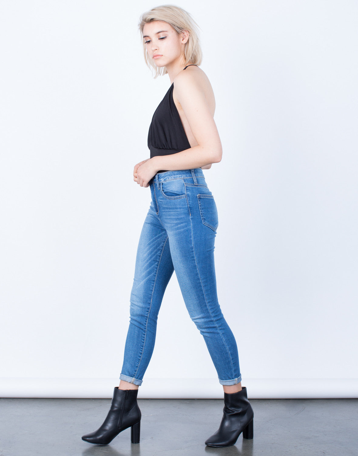 Side View of Classic Blue Jeans