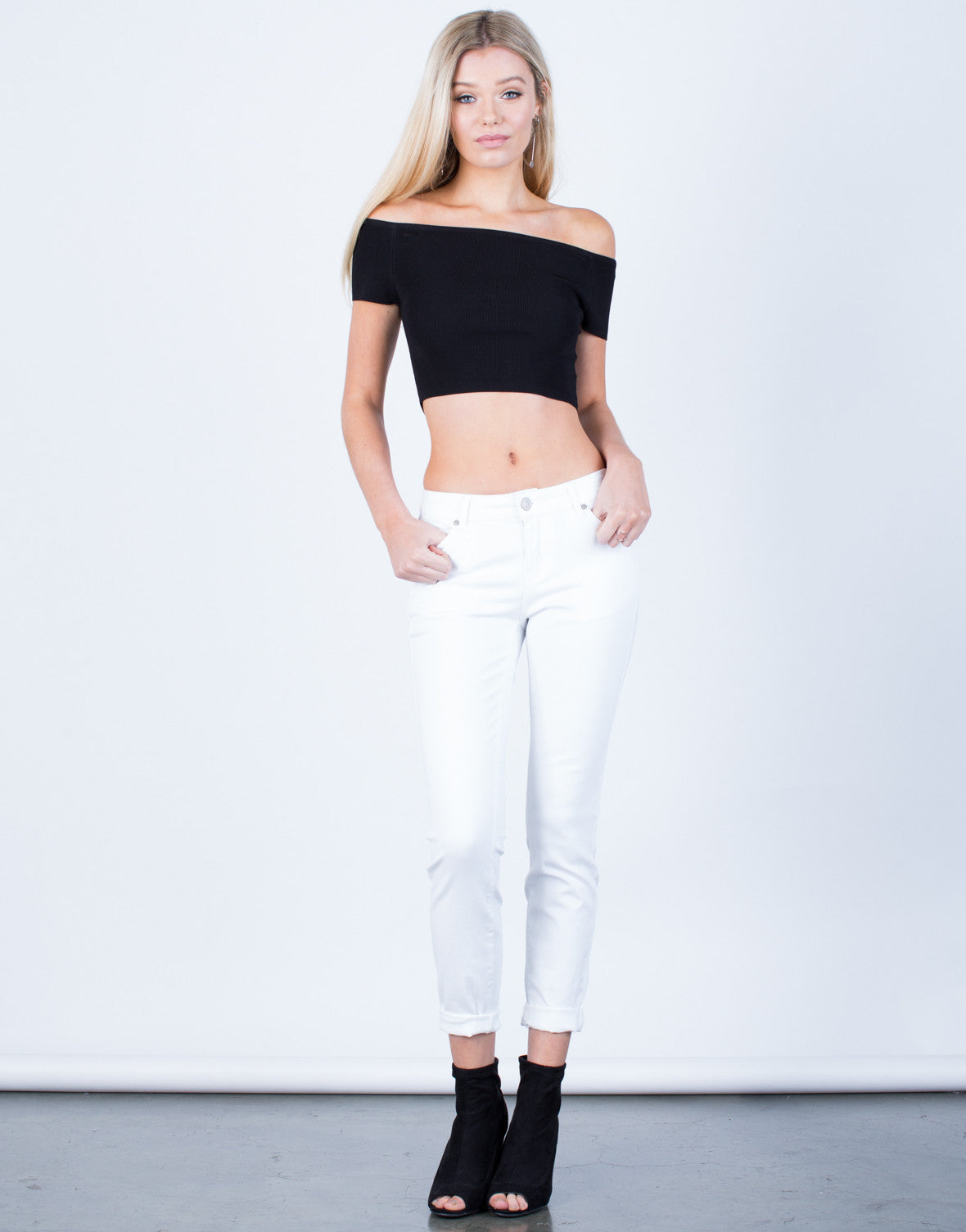 Front View of Classic Cuffed Denim Jeans