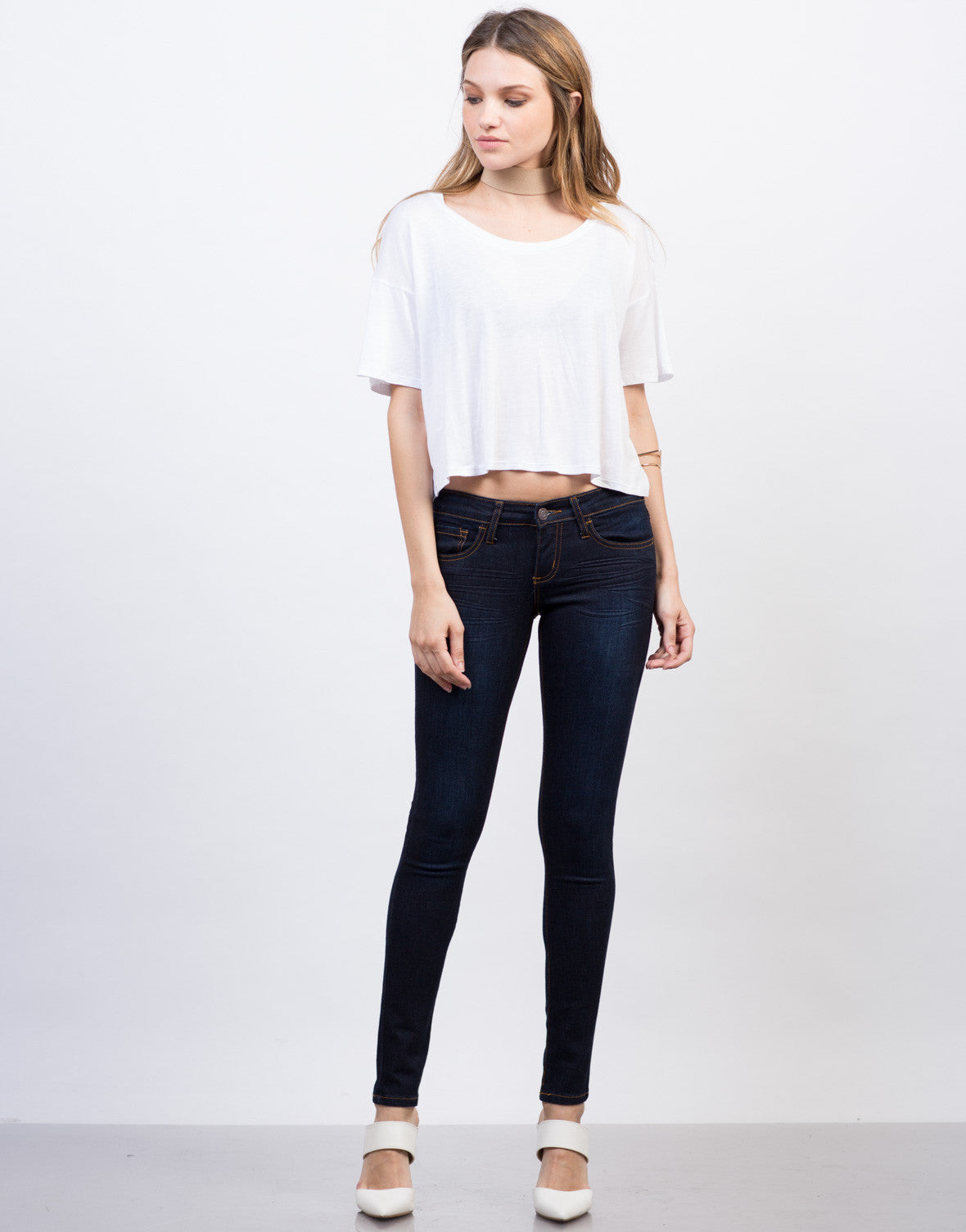 Front View of Classic Dark Skinny Jeans