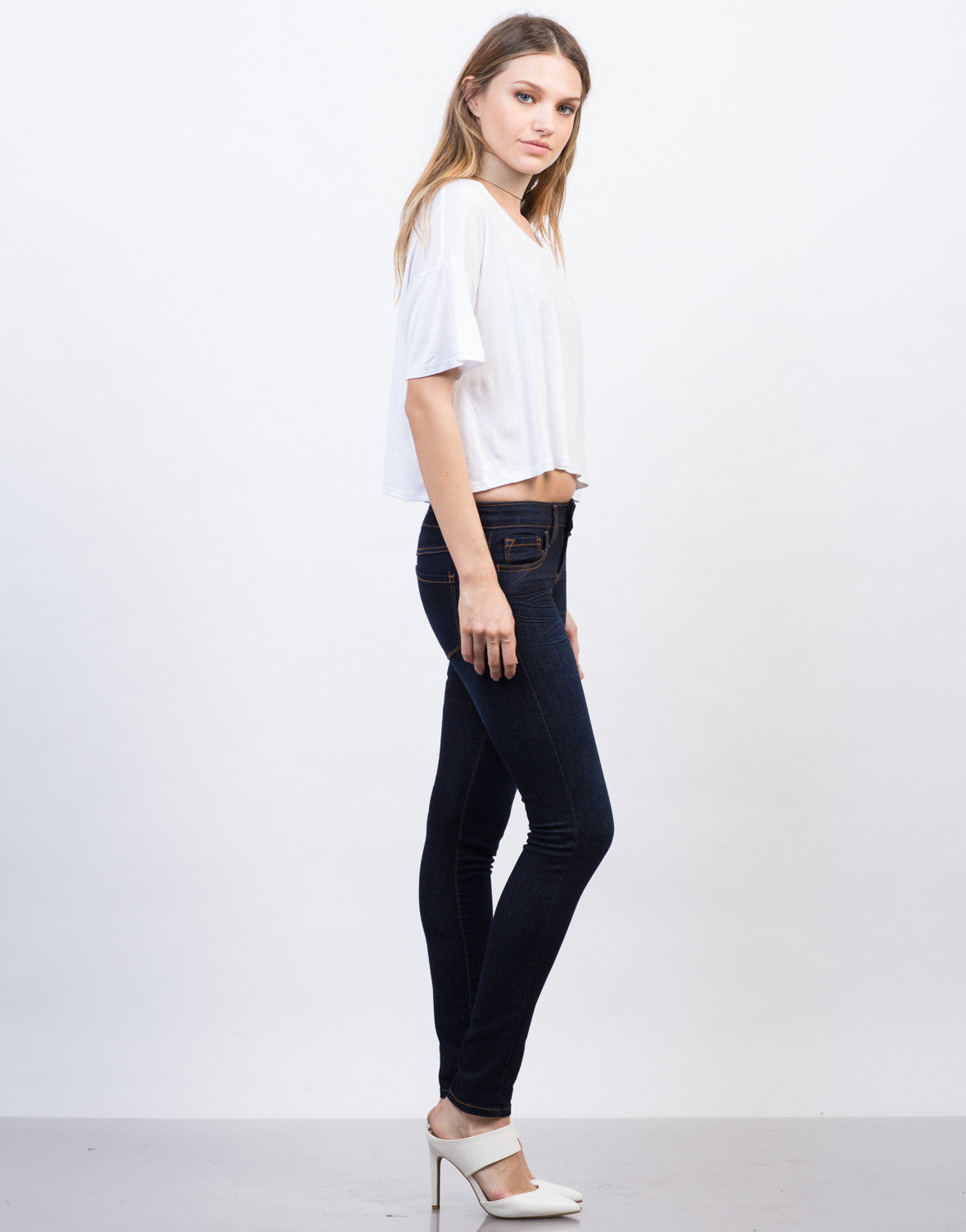 Side View of Classic Dark Skinny Jeans