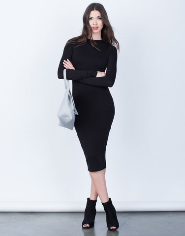 Front View of Classic Long Sleeve Midi Dress