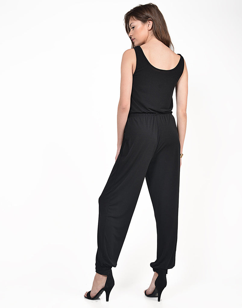 Back View of Classic Black Jumpsuit