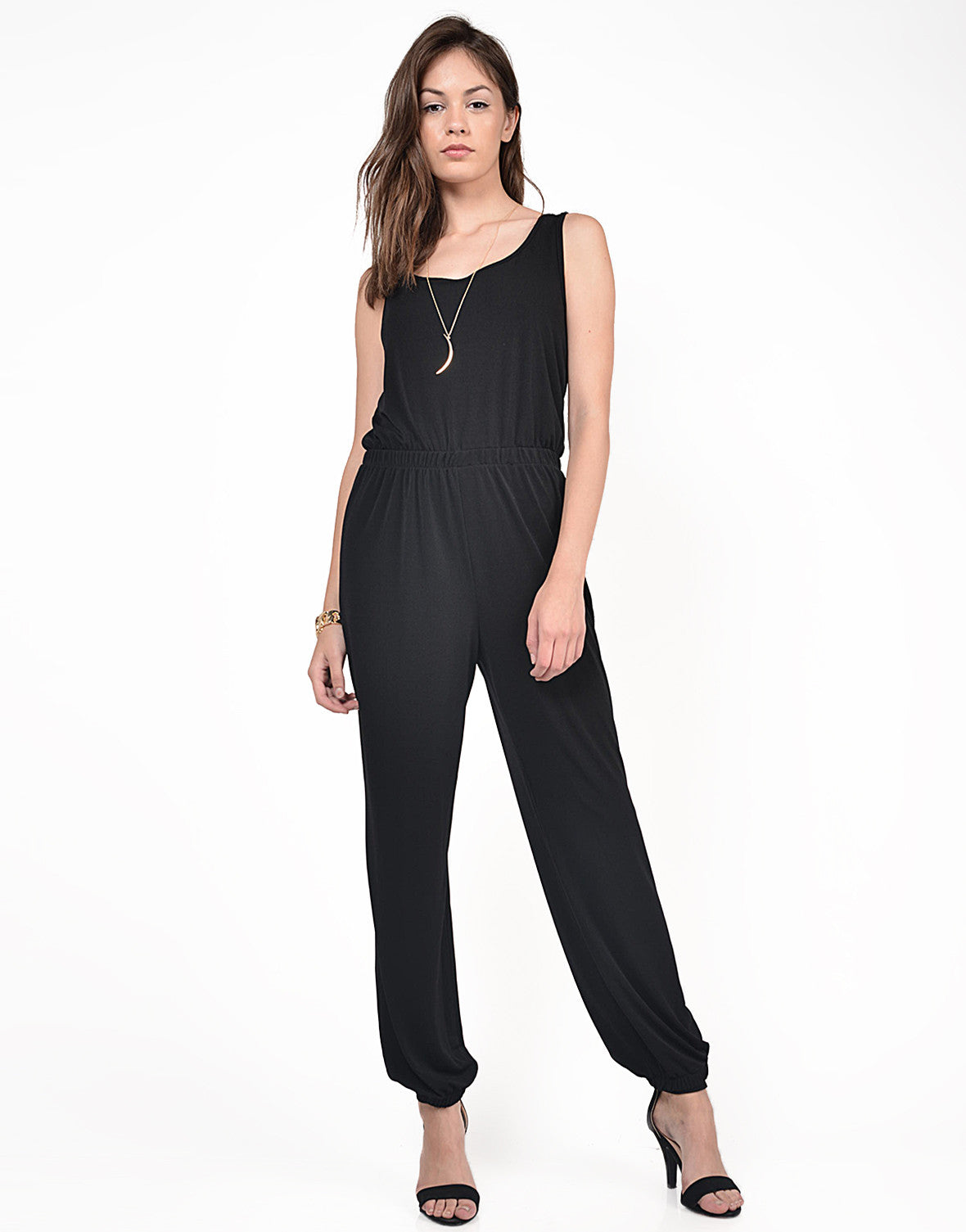 Front View of Classic Black Jumpsuit