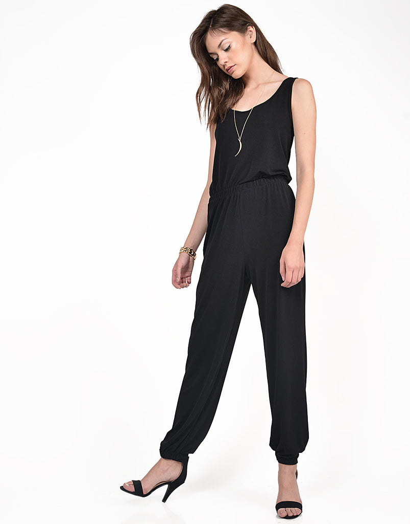 Side View of Classic Black Jumpsuit