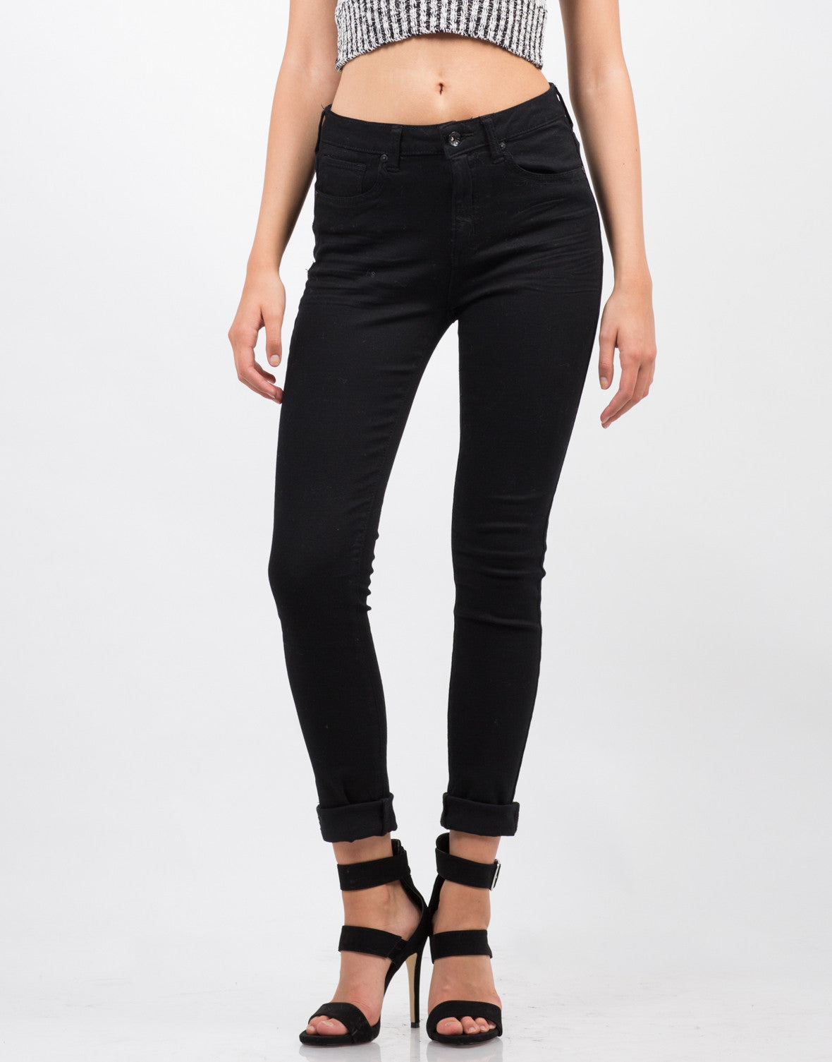 Front View of Classic Black Skinny Jeans