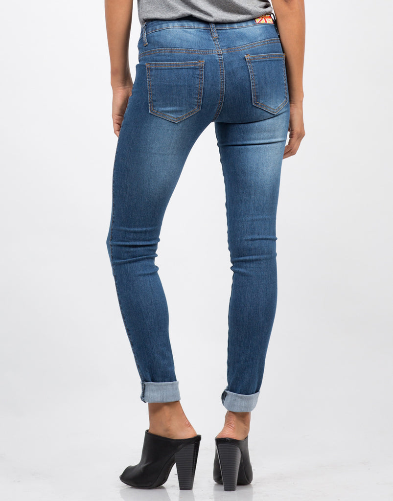 Back View of Classic Blue Skinny Jeans