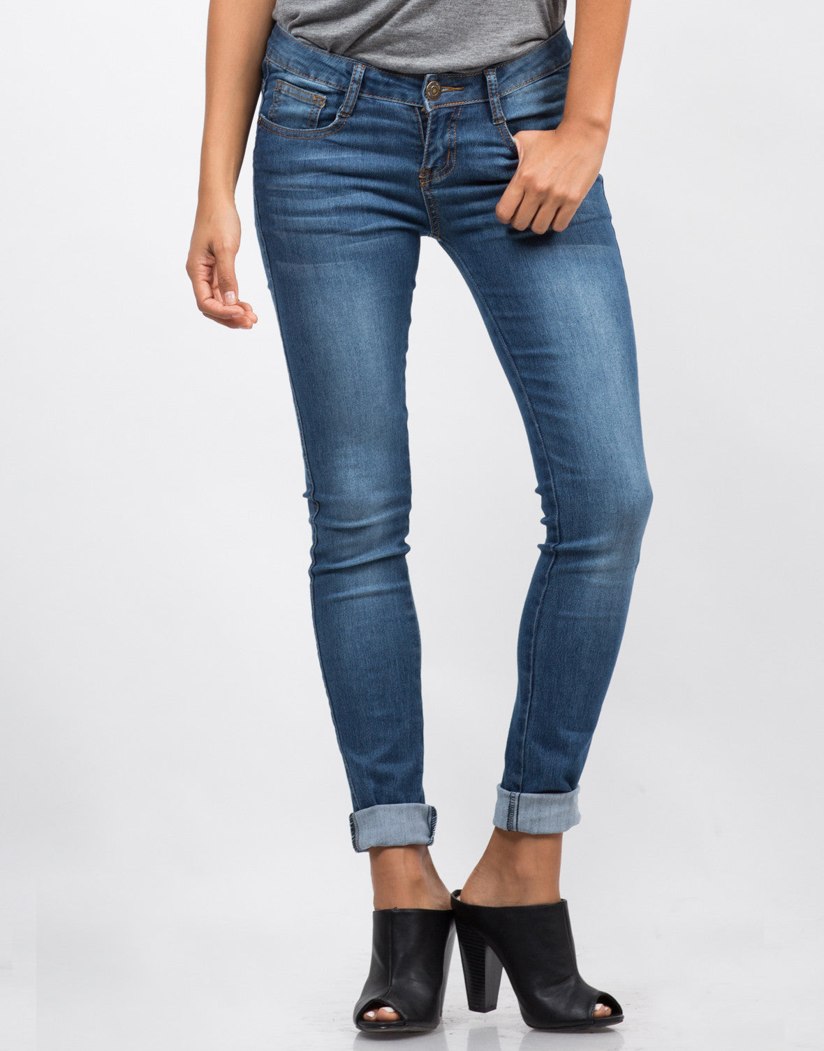 Front View of Classic Blue Skinny Jeans