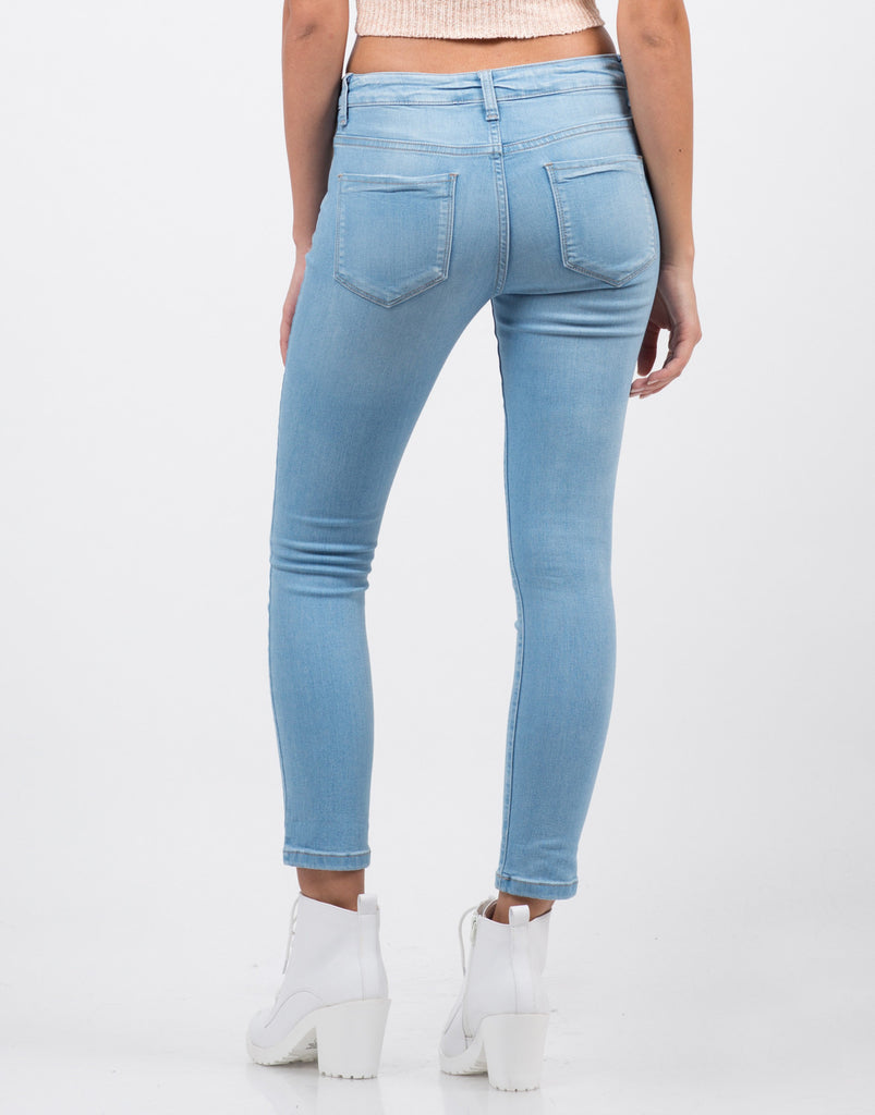 Back View of Classic Crop Skinny Jeans