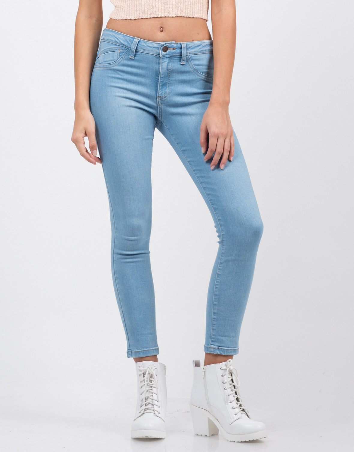 Front View of Classic Crop Skinny Jeans