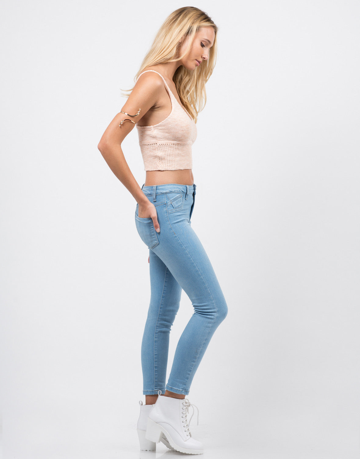 Side View of Classic Crop Skinny Jeans