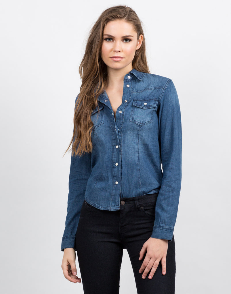 Front View of Classic Denim Button Up Shirt