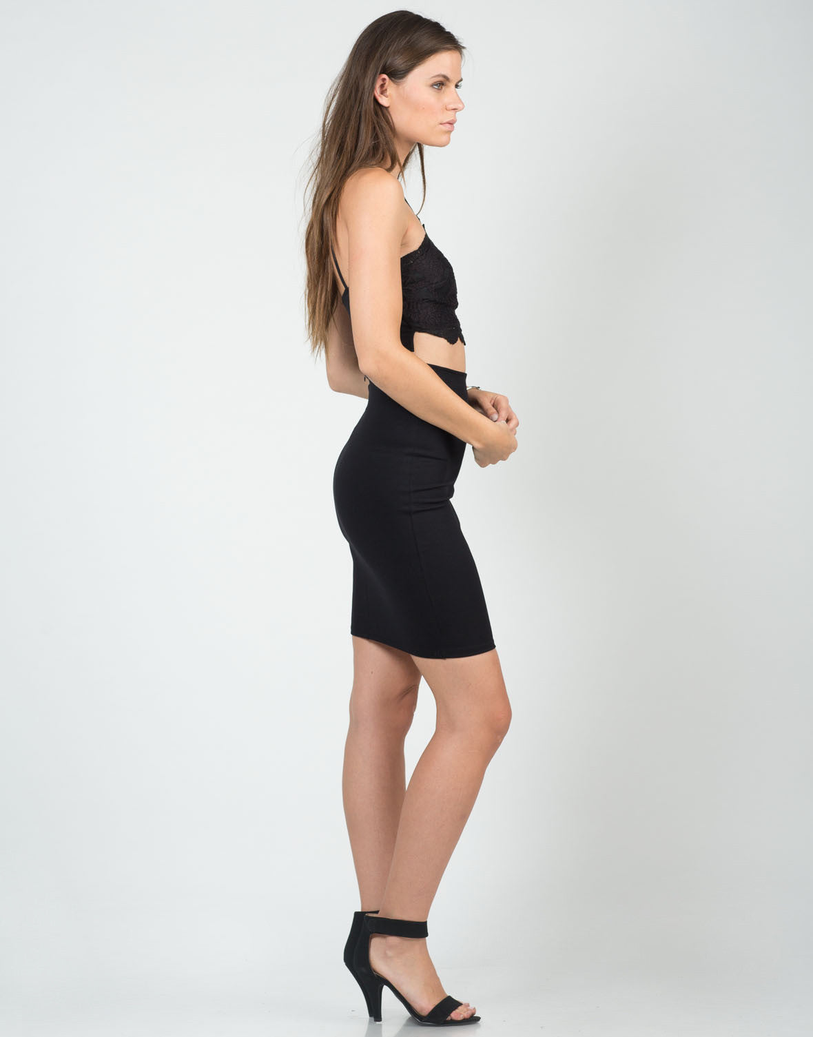 Side View of Classic High Waisted Pencil Skirt