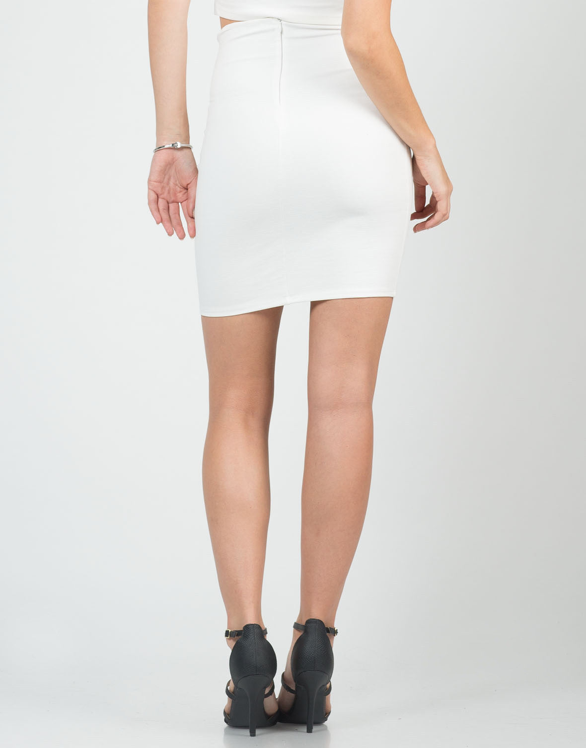 Back View of Classic High Waisted Pencil Skirt