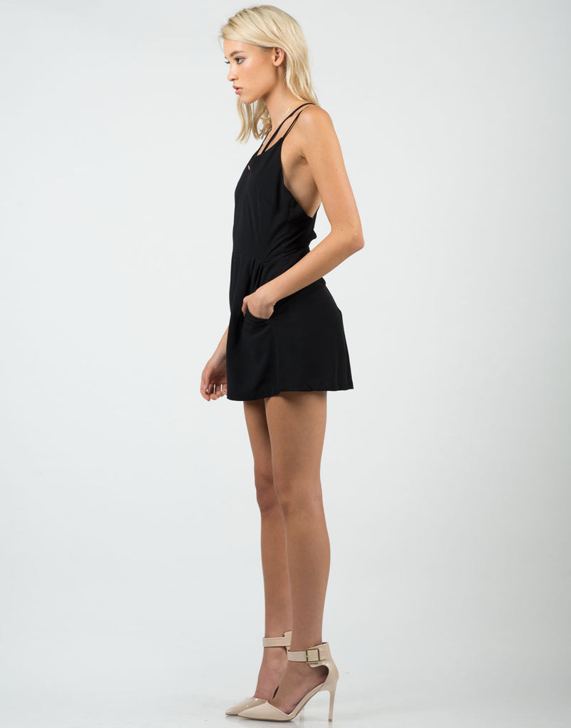 Side View of Classic Little Black Romper