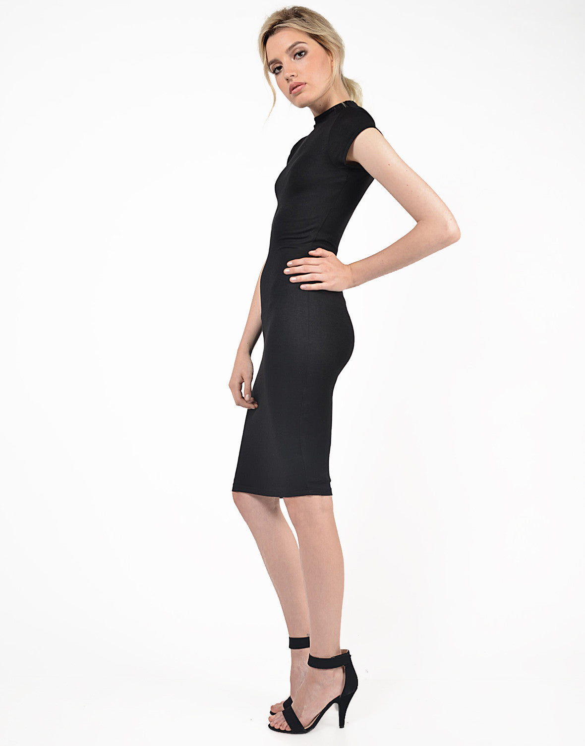 Side View of Classic Midi Dress
