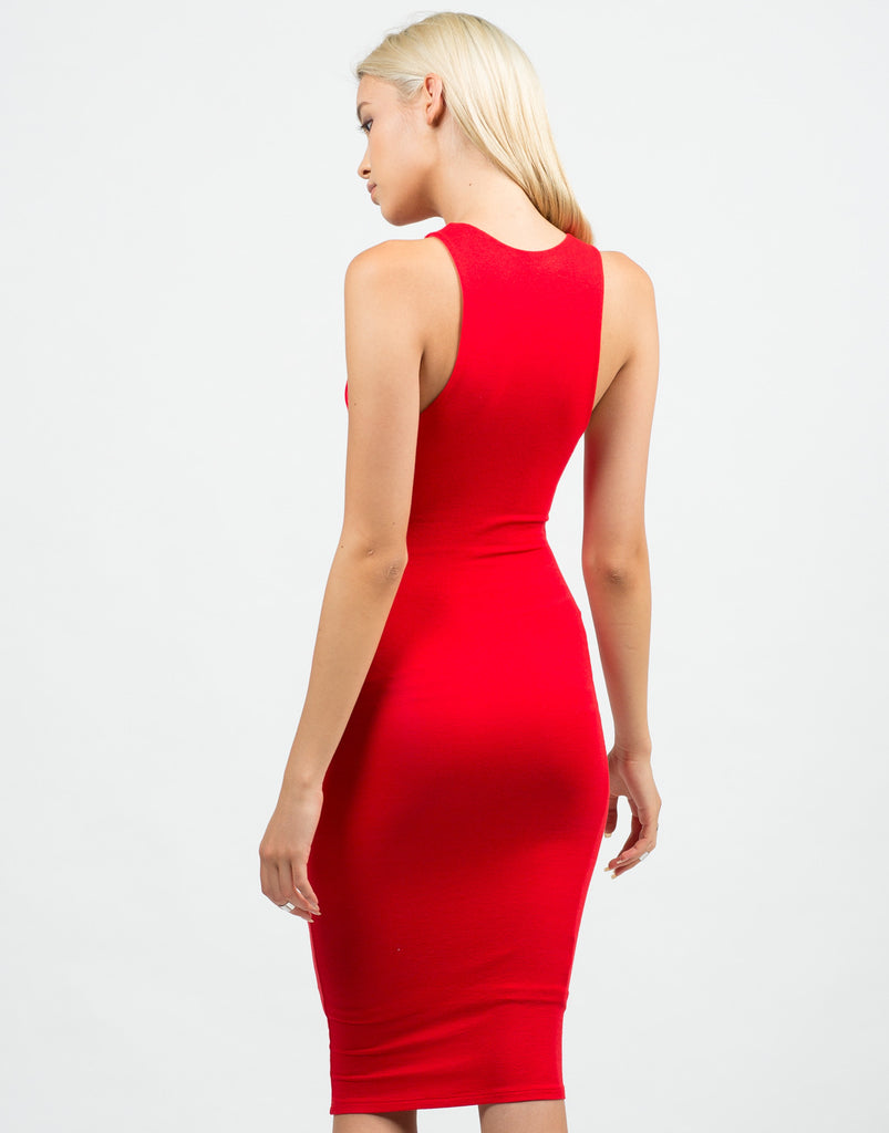 Back View of Classic Red Midi Dress