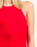 Detail of Classic Red Midi Dress