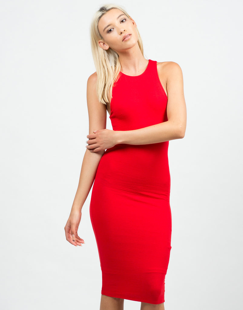 Front View of Classic Red Midi Dress