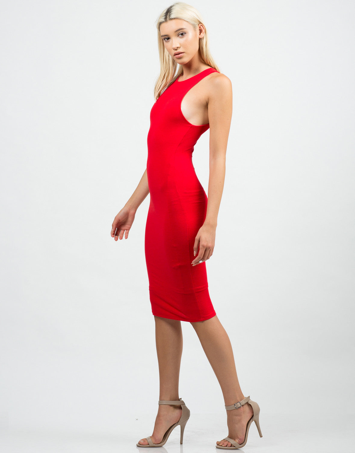 Side View of Classic Red Midi Dress