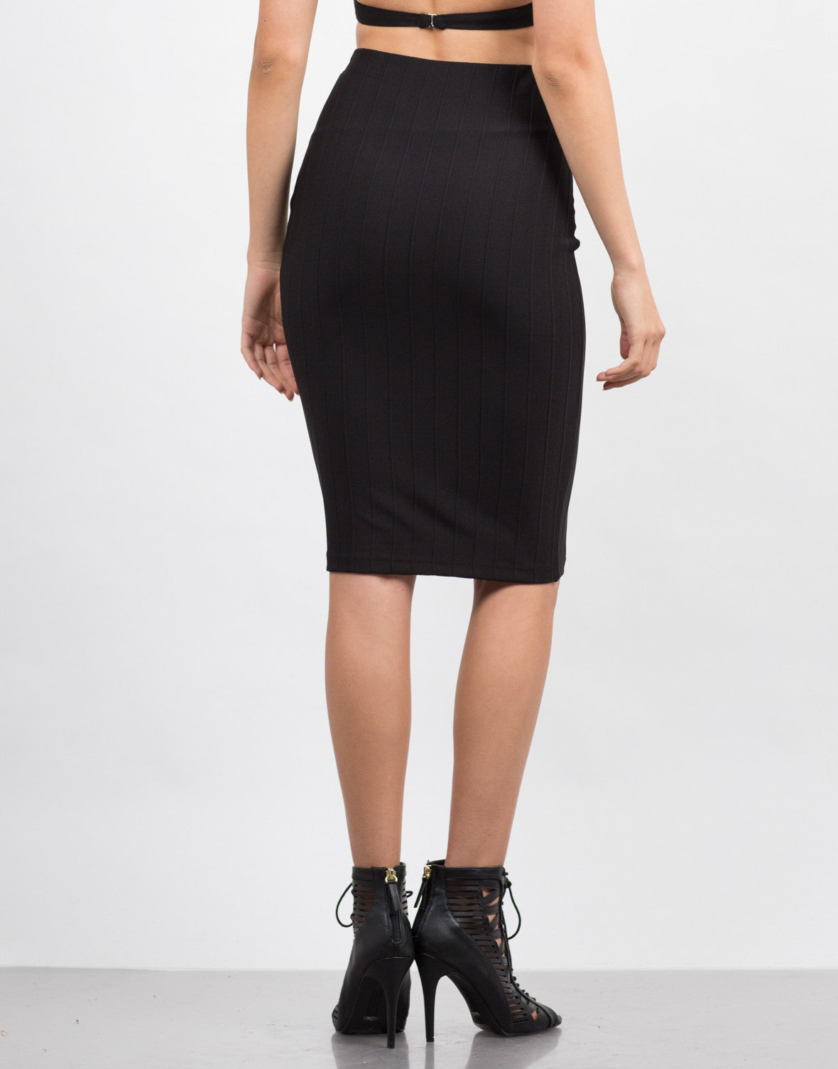 Back View of Classic Ribbed Pencil Skirt