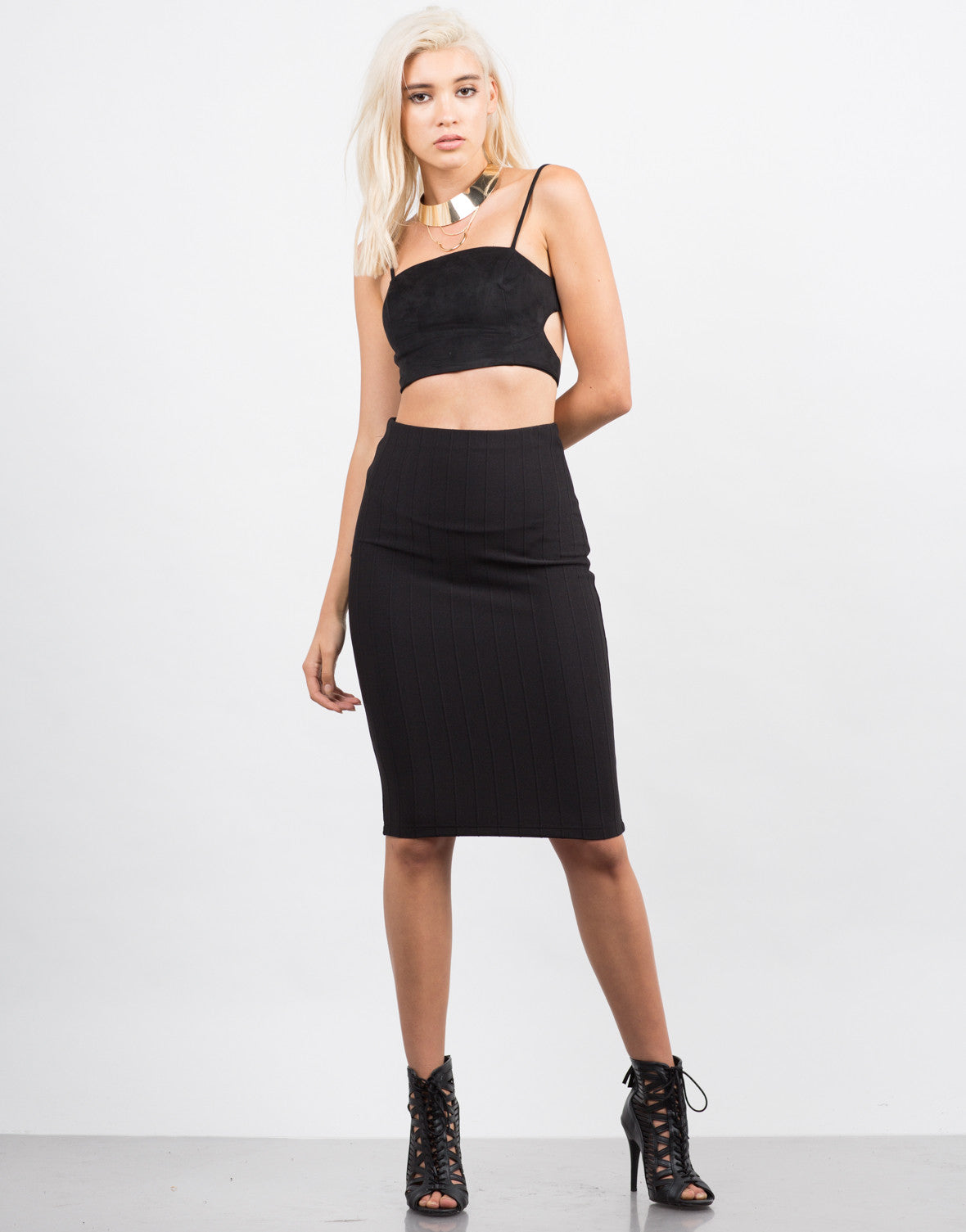 Front View of Classic Ribbed Pencil Skirt