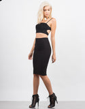 Side View of Classic Ribbed Pencil Skirt