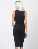 Back View of Classic Sleeveless Midi Dress