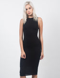 Front View of Classic Sleeveless Midi Dress