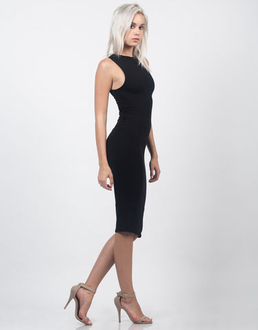 Side View of Classic Sleeveless Midi Dress