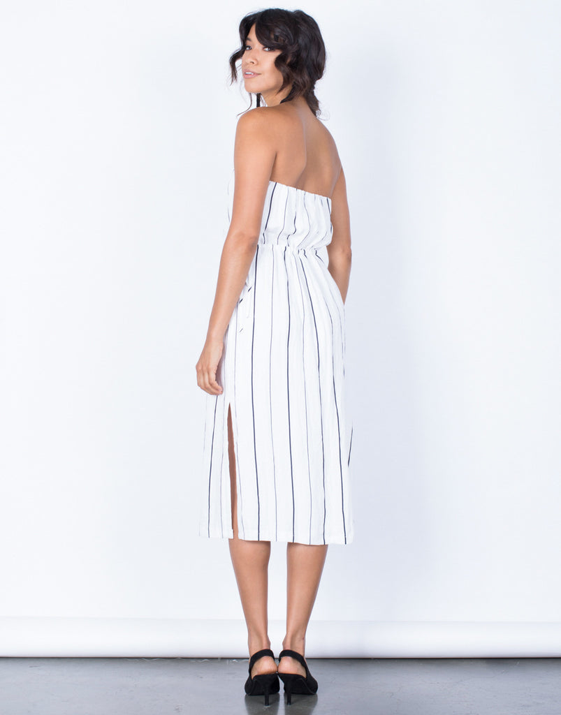 Back View of Clean Lines Striped Dress