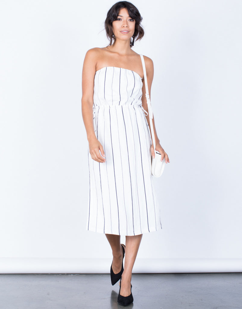 Front View of Clean Lines Striped Dress