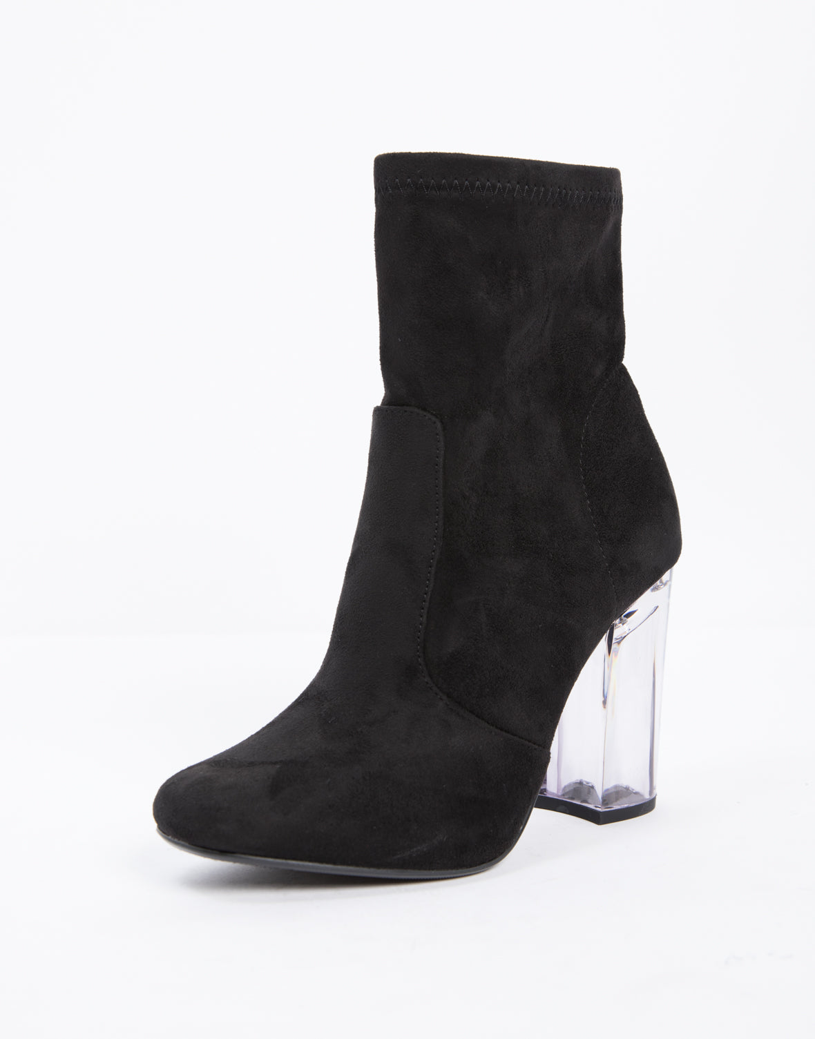 Clear Heel Booties