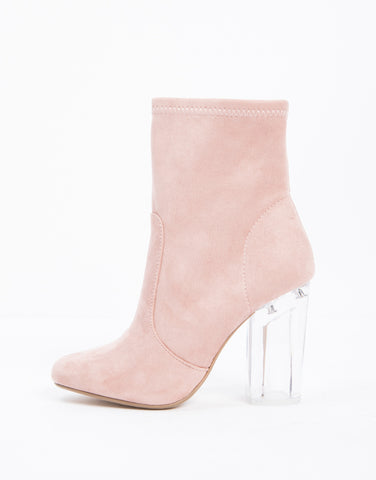 Clear Heel Booties in Mauve