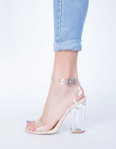 Clear Strapped Heels