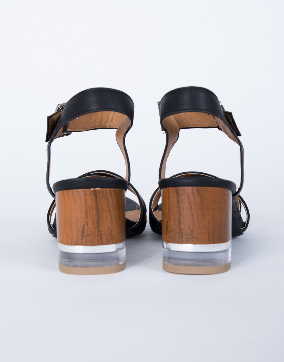 Clearly Wooden Heel Sandals