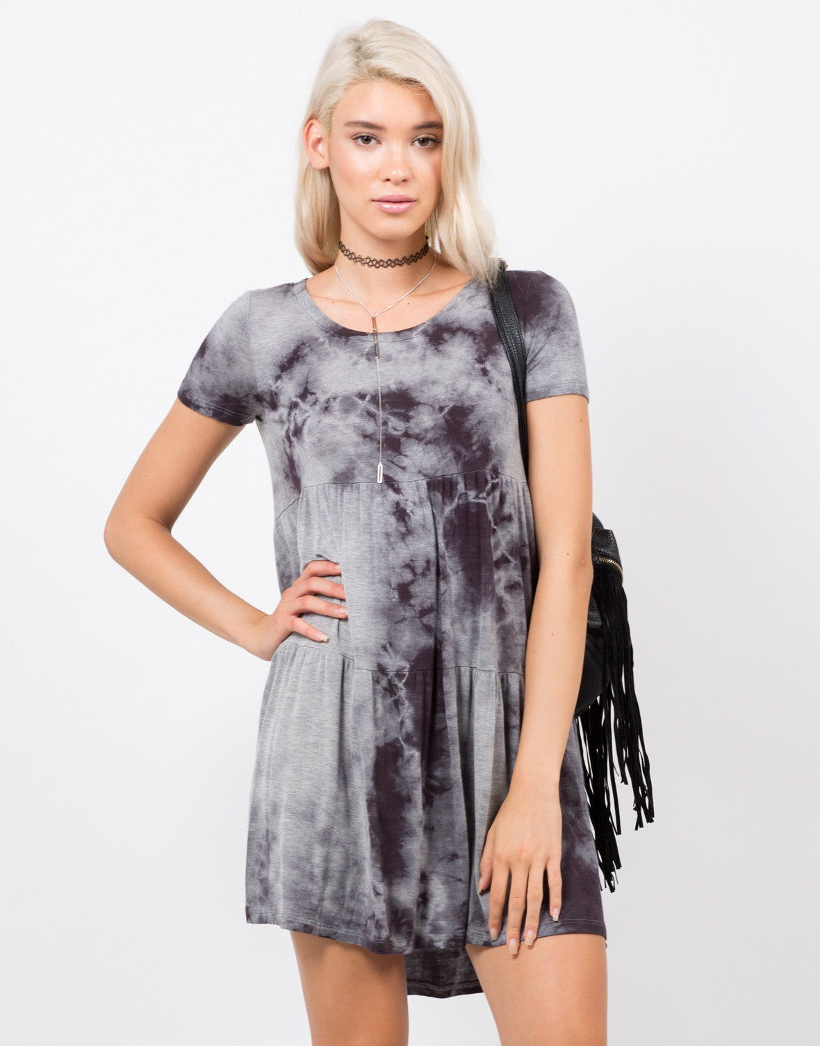 Front View of Cloudy Babydoll Dress