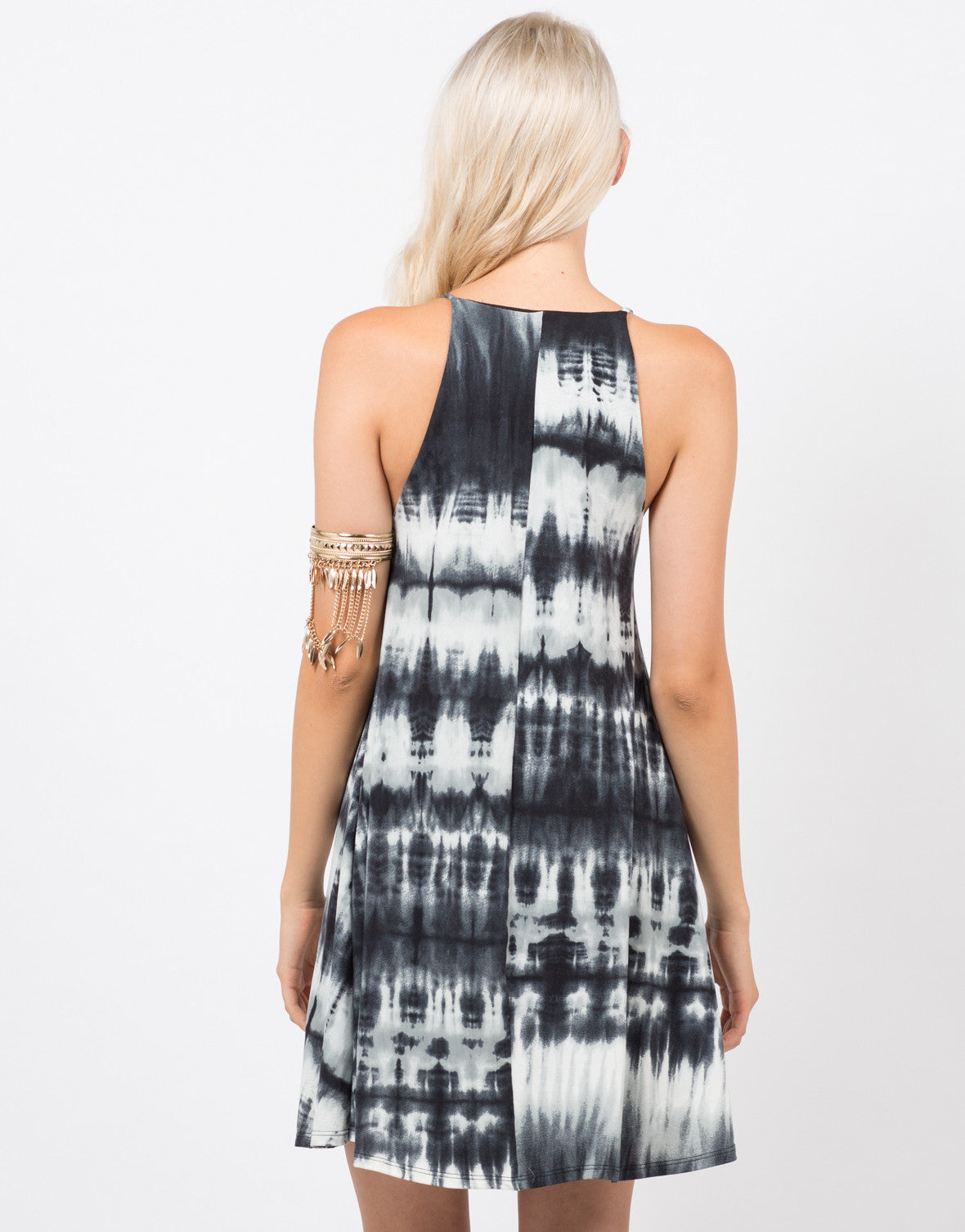 Back View of Cloudy Dyed Dress