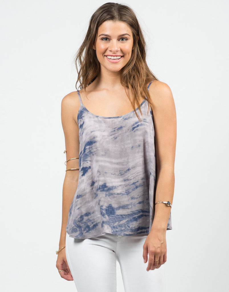 Front View of Cloudy Tie-Dye Tank