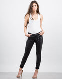 Front View of Coated Skinny Pants