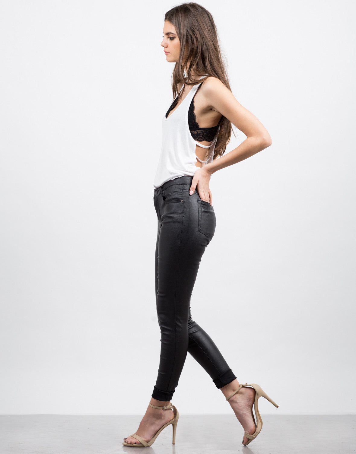 Side View of Coated Skinny Pants