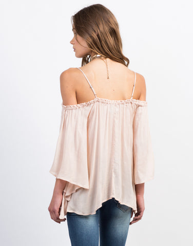 Back View of Cold Shoulder Boho Top