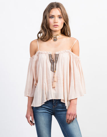 Front View of Cold Shoulder Boho Top