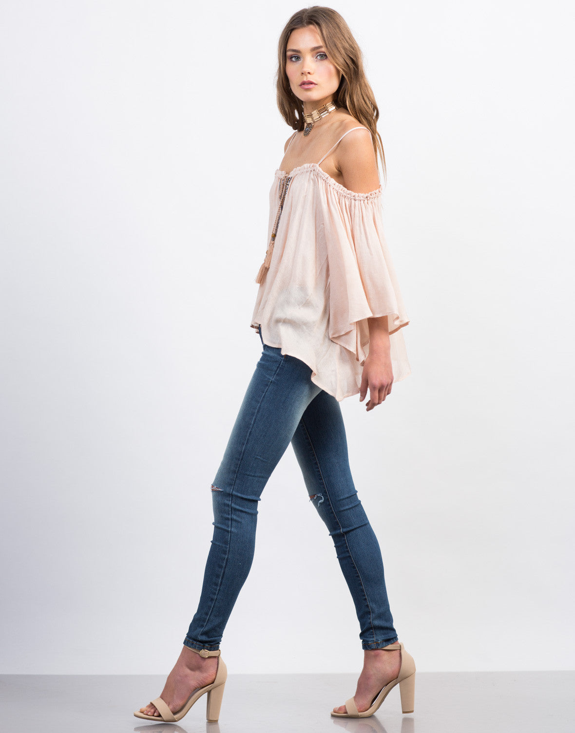 Side View of Cold Shoulder Boho Top