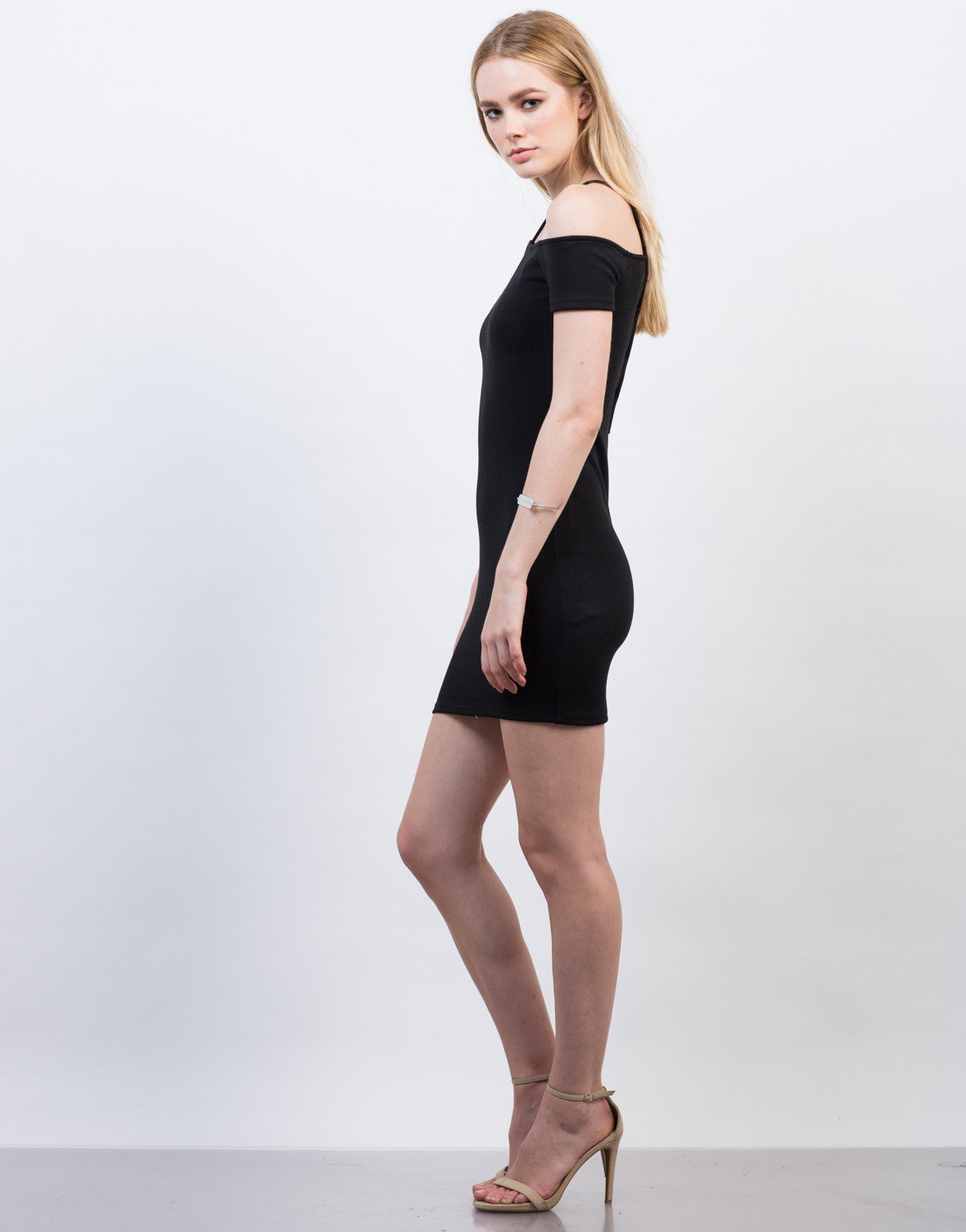 Side View of Cold Shoulder Criss Cross Dress